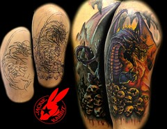 Dragon Cover-Up tattoo by Jackie Rabbit (Jackie rabbit Tattoos) Tags: city up tattoo fire star virginia cool colorful dragon bright good awesome great flame cover roanoke va angry powerful firebreathing breathing coverup jackierabbit