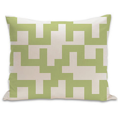 Maze Organic Pillow in Lime and Natural 15x18 (PURE Inspired Design) Tags: customfurniture organicfabric ecofriendlyfurniture woolrugs