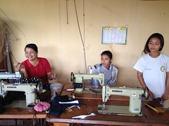 sewing teacher and students