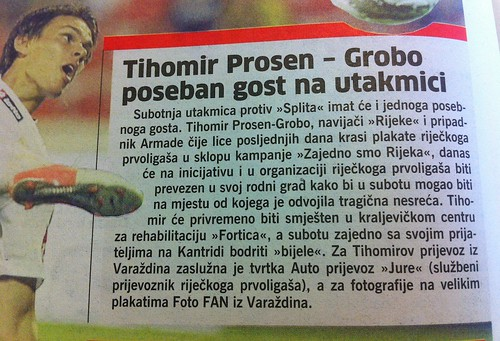 Grobo - poseban gost na utakmici (Novi List, 18.10.2012)