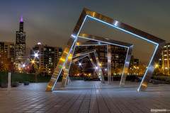 Portals (Brian Koprowski) Tags: park city chicago reflection rain skyline architecture night skyscraper illinois pentax searstower rainy breastcancerawareness hdr portals 311swacker willistower pentaxk5 marybartelmepark bkoprowski briankoprowkski