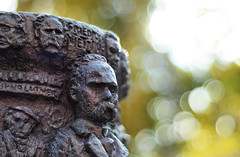 Ecce Homo (Henrik Sundholm.) Tags: sculpture art face bronze artwork sweden bokeh philosophy carving well moustache sverige wisdom mustache sdertlje philosopher nietzsche mustasch friedrichnietzsche brorhjorth visdomensbrunn