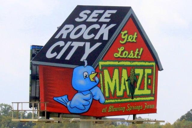 Rock City Birdhouse Billboard with Corn Maze