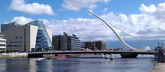 Sunny Samuel Beckett Bridge (Concorps) Tags: blue ireland summer sky people panorama dublin irish sun seascape water festival clouds docks river landscape canal sailing cityscape phone ships places liffey crew docklands tall mast ropes 2012 sensation htc moored