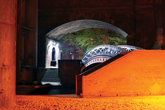 Castlefield by Night (Sandra... Back on the Radar) Tags: longexposure night manchester canal lock bridges railway arches viaduct locks barge castlefield 2012 deansgate bridgewater railwayarches wwpw