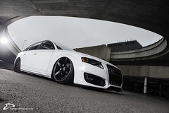 Audi A4 with HPS Airride and Vossen wheels (fourcross) Tags: auto white car nikon a4 audi d4 airride elinchrom vossen