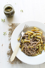 Soba Noodles with Yellow Beans and Mint-Basil-Walnut Pesto (Migle Seikyte) Tags: food beans pasta vegetarian noodles soba pesto yellowbeans