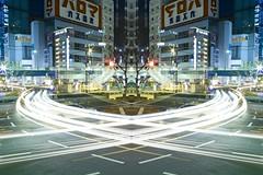 graffiti of speed / mirror of symmetry (sinkdd) Tags: road longexposure light urban night tokyo shinjuku nightshot sigma symmetry headlight lighttrails foveon lighttrail lightstream traffictail traffictails lightofnight dp1s sigmadp1s sinkdd graffitiofspeedmirrorofsymmetry