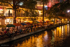 Night Lights - Casa Rio (d-day buff) Tags: food reflection colors night sanantonio umbrella river gold lights casa texas image eating tables riverwalk