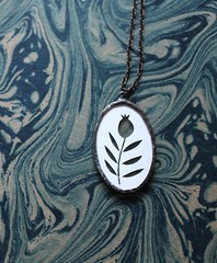 cranberry silhouette necklace (jenny lee fowler) Tags: white art nature glass paper jewelry cranberry brass pendant papercutting silhouettenecklace