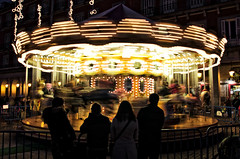 tio vivo (Omar Parada) Tags: madrid plaza carnival motion blur night speed lights mayor low handheld rotation k5 tiovivo darktable
