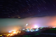 Star trails over village  (Vincent_Ting) Tags: sunset sky clouds taiwan  formosa  jiayi   seaofclouds alisan    teafield