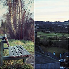 Day 8 - Bench with a view ({ogio}) Tags: road camera uk two sorry canon project bench golf photography one scotland three diptych track view bokeh walk five picture rail going course well aberdeen gb 365 moment dee dslr too six dip fifty dippy digi tych canonphotography 650d bokehlicious