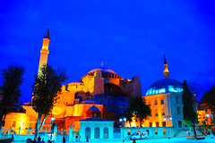 Hagia Sophia (Ayasofya) Istanbul Turkey at Night (mbell1975) Tags: blue tower church museum architecture night turkey lights evening europe cathedral dusk basilica minaret trkiye kirche chapel istanbul mosque holy trkei dome imperial former ottoman wisdom tor eastern orthodox sophia turkish byzantine minarets trk constantinople hagia kapelle patriarchal ayasofya patriarchate mygearandme blinkagain