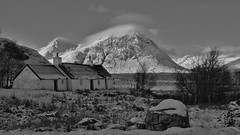 Black Rock Cottage Mono (Sybalan,) Tags: winter wild mountain snow rural mono scotland sunny glencoe remote blueskies kingshouse buachailleetivemor blackrockcottage