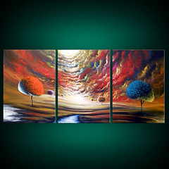 Happiness (MatthewHamblen) Tags: original sunset cloud seascape abstract tree art texture nature modern clouds century painting stars landscape fun happy dance acrylic glow dancing joy goth surreal canvas fairy fantasy lollipop stretched mid faerie impasto