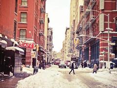 New York Winter - Snow in Soho (Vivienne Gucwa) Tags: street nyc newyorkcity winter snow manhattan soho gothamist nycstreet lowermanhattan curbed fireescapes urbanphotography citystreet princestreet mercerstreet newyorkstreet wnyc fanelliscafe nycphoto nycwinter nycsnow citysnow snowcoveredstreet newyorksnow sohostreet urbansnow cityphoto cityphotography newyorkphoto castironarchitecture manhattansnow nycphotography snowcoveredsign newyorkwinter newyorkcityphotography castironbuildings manhattanwinter snowstormnyc newyorkstreetview viviennegucwa viviennegucwaphotography sohowinter snowonfireescapes