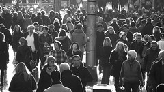 busy Buchanan Street (byronv2) Tags: street people blackandwhite bw woman man monochrome scotland blackwhite glasgow candid crowd buchananstreet