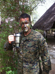 Major TW-enjoying perfectly brewed coffee in the jungle