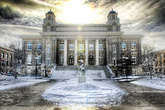 Syracuse University (Tony Shi.) Tags: new york winter orange snow cold college architecture campus university state general library central upstate quad syracuse su lib hdr carnegie cuse syr     2013