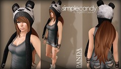 !!NEW!! Simplecandy - Rigged Mesh Panda Hat & Hair (AngelRED Couture) Tags: life urban cute hat animal design 3d clothing punk mesh heather avatar emo goth gaming secondlife rig kawaii second beanie lexi crawford rigging rigged mmorpg mmo digial zelin
