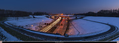 Kennedy tunnel (pDOTeter) Tags: light sunset panorama snow cars skyline traffic belgium belgique belgie dusk antwerp lighttrails bluehour hdr antwerpen anvers ptgui kennedytunnel movingcars oloneo