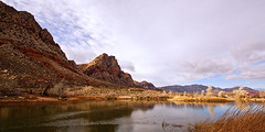 01560-Sky Water Land-4 (Jim Vegas Cowboy) Tags: redrockcanyon red sky usa lake color tree water grass clouds america reflections landscape cloudy lasvegas nevada wide noflash mojave mojavedesert usaamerica springmountainranch redrrockcanyon