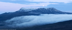 Panorama of Chater-Dag mountain with full moon (nickolay_khoroshkov) Tags: morning panorama cloud moon mountain fog sunrise twilight cloudy dusk foggy ukraine panoramic full valley crimea chaterdag