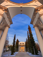 Enter the World of Others (Union*) Tags: blue light sky white cemetery architecture afternoon columns slovenia ljubljana classical late colonnade plecnik plenik classicist joe pokopalie ale