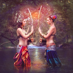 'Always With Love' (Natasha Root Photography) Tags: natasharootphotography imagine inspire create trbalbellydance tribal allegory allegorytribalbellydance bff bestfriends dancers love power swords painterly water fineart fantasy heart eternal painting bellydancers