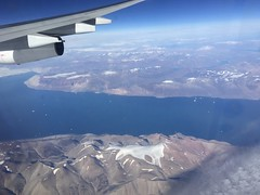 Mountains and Icebergs (jchants) Tags: 116in2016 71highvantagepoint greenland water mountains icebergs blue airplane wing