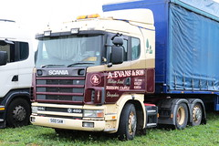 A Evans and Son Scania 144l S100 SAW Great Dorset Steam Fair 2016 (davidseall) Tags: scania 144l s100 saw s100saw great dorset steam fair 2016 truck lorry artic tractor unit lgv hgv large heavy goods vehicle v8 haulage