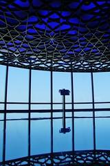 Burj Khalifa blues (sonofwalrus) Tags:  canon eos7d slr uae unitedarabemirates  dubai atthetop burjkhalifa observationdeck windows glass blue 125 level125 building architecture middleeast pattern geometry