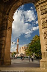 / A look through the arch (AVasilev) Tags:       arch sky banya bashi mosque sofia