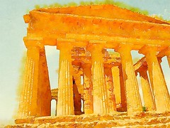Valle di Templi, Agrigento, Sicily, Italy in watercolor via @waterlogue #sicily #italy #travel #history #watercolor #outdoors #architecture #greek (dewelch) Tags: ifttt instagram valle di templi agrigento sicily italy watercolor via waterlogue travel history outdoors architecture greek