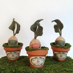 Wee Screamers - Mandrake Roots (MelissaSueArt) Tags: mandrake harrypotter panslabyrinth halloween garden moss wool handmade designertoy plush stitched nightmare creature root