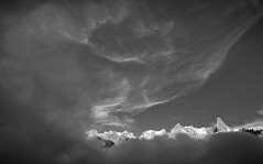 Moutians and sky (Ulrik Hasemann) Tags: sky mountain france mountains alps clouds canon blackwhite altitude august climbing alpine dslr chamonix 2012 alpinism grandejorasses dentdugéant 5dii ulrikhasemann