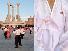 mass dance - north korea (Emmanuel Catteau photography) Tags: square dance couple asia pin day photographer dress kim song traditional north performance reporter meeting korea blouse il communism national planet conde lonely mass geo choreography geographic nast traveler pyongyang catteau wwwemmanuelcatteaucom