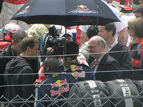 Mark Webber is interviewed before the 2009 British Grand Prix
