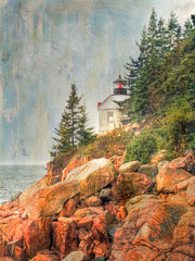 Bass Harbor Head Lighthouse, Acadia National Park (Cat Girl 007) Tags: usa lighthouse texture nature bernard landscape coast harbor rocks maine shoreline historic boulders coastline lonelyplanet kodachrome rugged 1858 bassharbor nationalgeographic iphone acadianationalpark enchanting naturescenery coastalscenery bassharborheadlighthouse vintagefindings bluehillbay artmix memoriesbook iphoneography daarklands magicunicorn textureinfinitebook