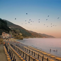 The best time to go swimming in Monterosso is at dusk (Bn) Tags: world old blue boy sunset sea summer italy seagulls holiday heritage love beach girl train swimming coast town nationalpark sand topf50 paradise mediterranean italia day glow torre time dusk liguria small rocky tourist romance cliffs best lovers unesco turquiose clear aurora terre romantic after coastline dreamlike popular umbrellas picturesque monterosso topf100 inviting wonders cinque italianriviera vecchio outcropping 100faves 50faves monterossoalmare auroratower