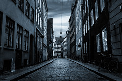 Diagon Alley (Mabry Campbell) Tags: street blue blackandwhite bw cars copenhagen denmark photography march photo europe capitol photograph danish 100 toned narrow f28 ef2470mmf28lusm 2012 selenium curving 32mm capitolcity cobblesones sec mabrycampbell march62012 201203065538