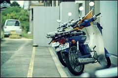 Delivery bikes, Onoharanishi (Eric Flexyourhead (Trying to catch up!)) Tags: city blue urban white bike japan honda motorbike  motorcycle yamaha delivery  osaka mate kansai mino supercub hondasupercub minoh minoo zd 50mmmacro20 50mmmacrof20   minoshi olympusep1 panasonicdmwma1 yamahamate