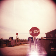 WHOA (abdukted1456) Tags: summer 120 film me sign mediumformat holga xpro fuji farm crossprocess toycamera maine lightleak plastic velvia stop whoa leak expired 120n expiredfilm 100f westbrook smilinghill