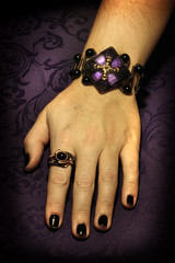 Steampunk Neo Victorian Jewelry Set - Czech Glass Purple Shimmer Square Button Bracelet and Ring (Catherinette Rings Steampunk) Tags: art glass fashion purple czech jewelry button bracelet steampunk