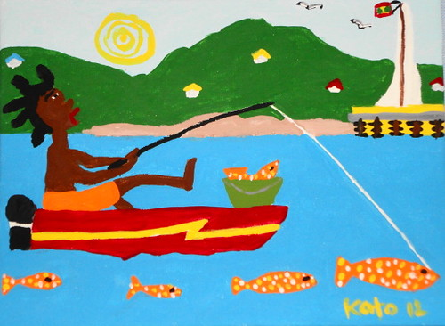 "SOLD.  ""Fisherman with Spotted Fish"", Spotted Fish Series; Acrylic on canvas 6"" x 8""."