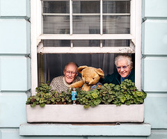 Happy Family (Anne Clements) Tags: bear family two men london window happy elizabeth teddy camden waving nw1 thequeen anneclements