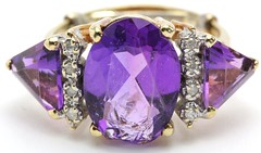 1030. Large Amethyst and Diamond Ring