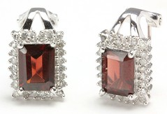 1048. Garnet and Diamond Earclips