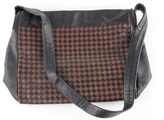 L11. Two Color Woven Leather Handbag, Italian